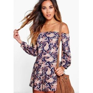 Boohoo Off the Shoulder Paisley Print Playsuit